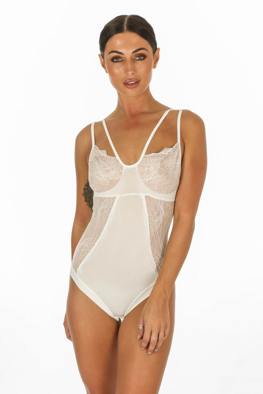 White Lace Detail Strappy Bodysuit