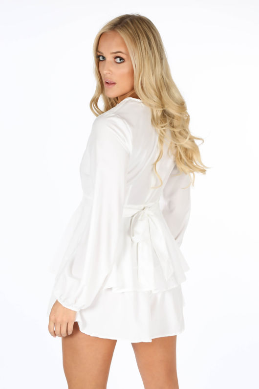White Long Sleeve Frill Playsuit