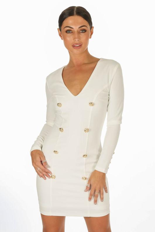 fb3b478c4d7a White Long Sleeve Tuxedo Bodycon Dress