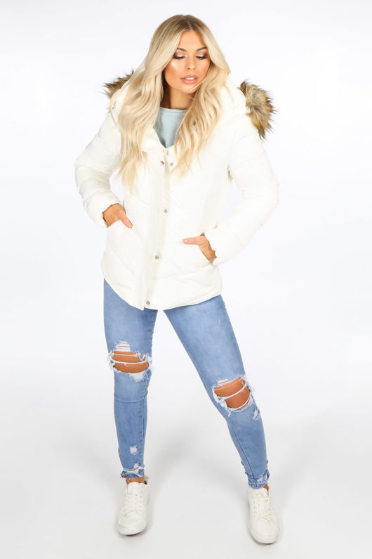 Short Quilted Puffer Jacket With Faux Fur In Off-White