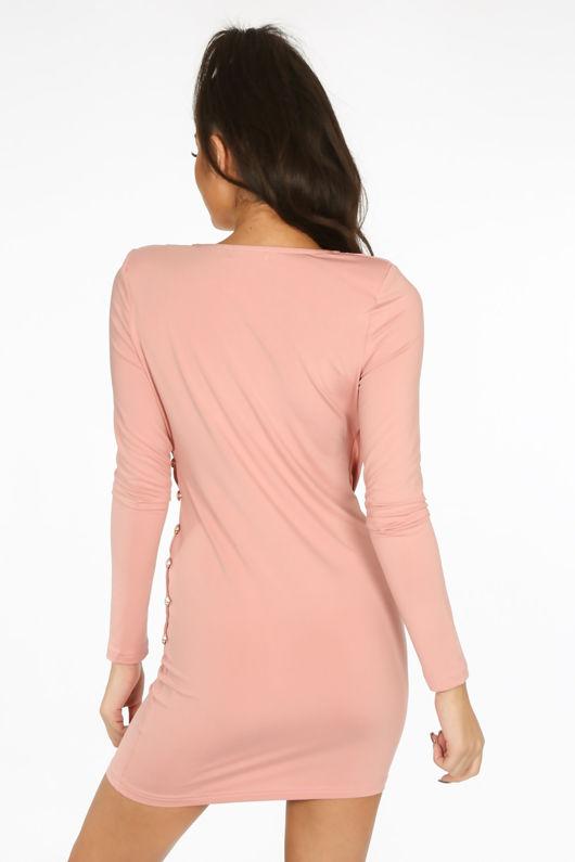 Pink Plunge Wrap Mini Bodycon Dress