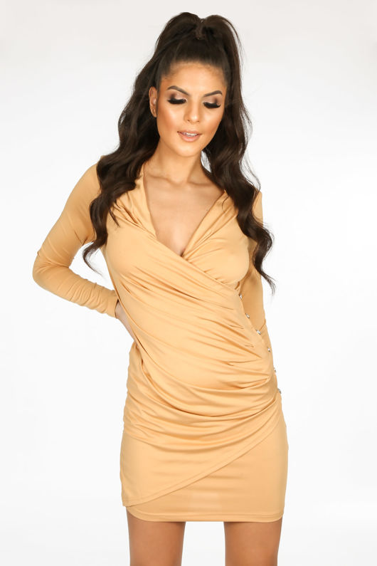 Taupe Plunge Wrap Mini Bodycon Dress