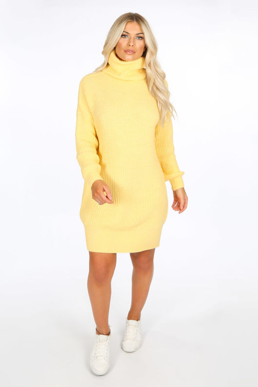 Yellow Chunky Roll Neck Jumper Dress