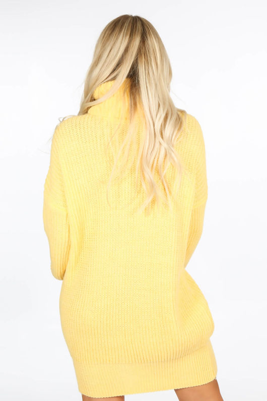 Yellow Chunky Roll Neck Jumper Dress