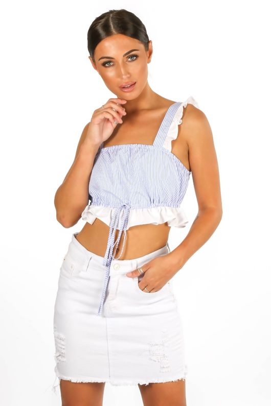 Blue Striped Frill Crop Top With Tie