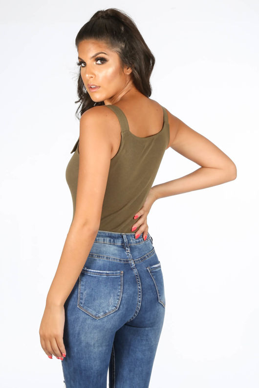 Khaki Jersey Bodysuit With Buckle Straps