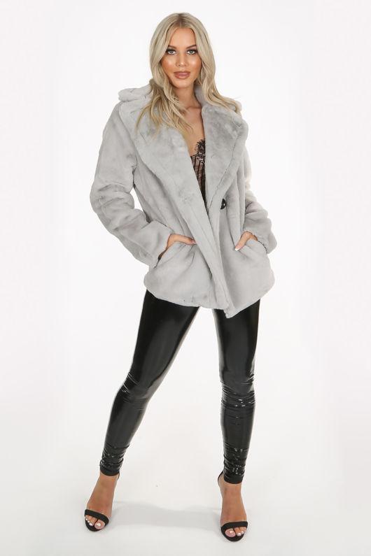 Grey Double Button Faux Fur Jacket