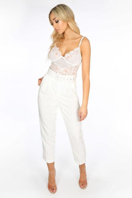 945106b03ff White Fishnet   Contrast Lace Bodysuit