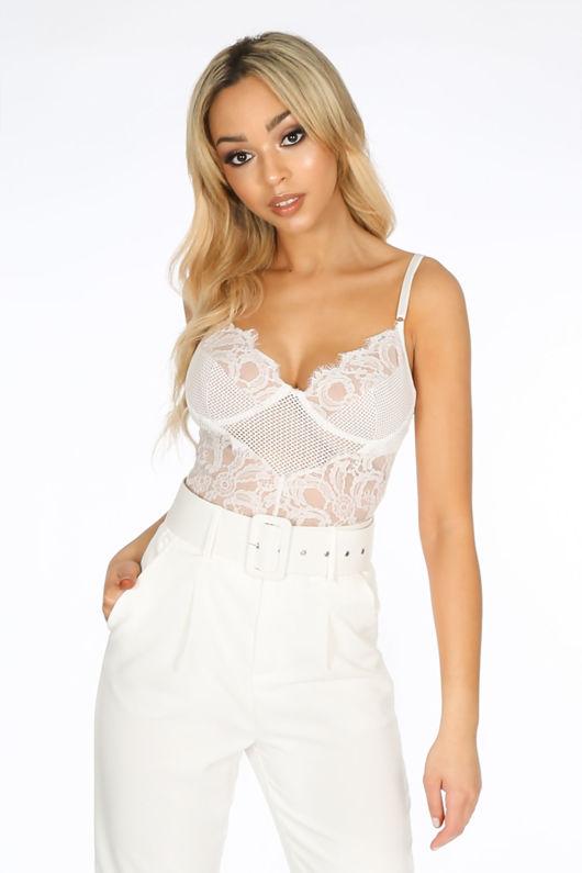 504b82e4a White Fishnet   Contrast Lace Bodysuit