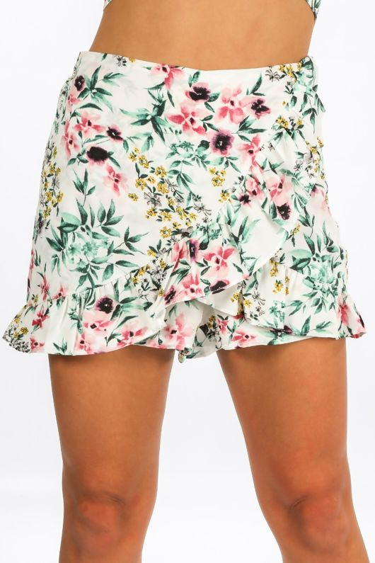 Floral Print Frill Skort In White