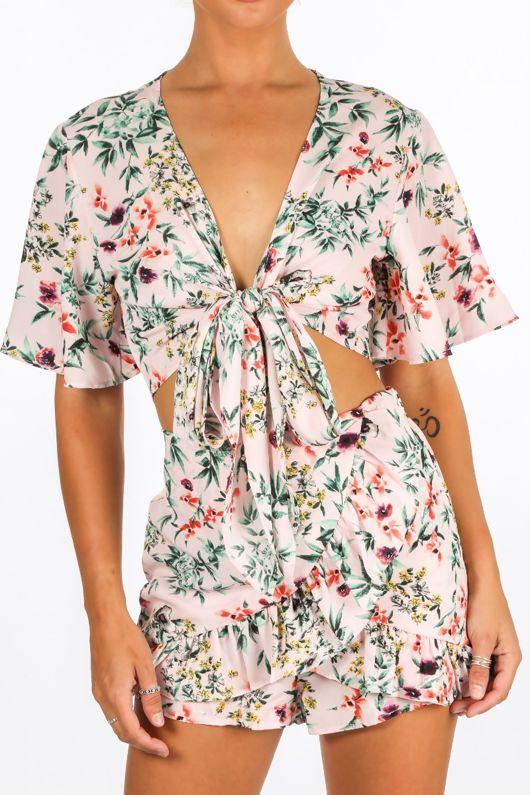 Floral Tie Front Crop Top In Pink