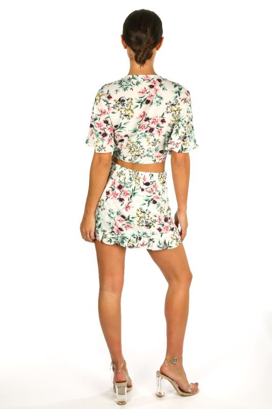 Floral Tie Front Crop Top In White