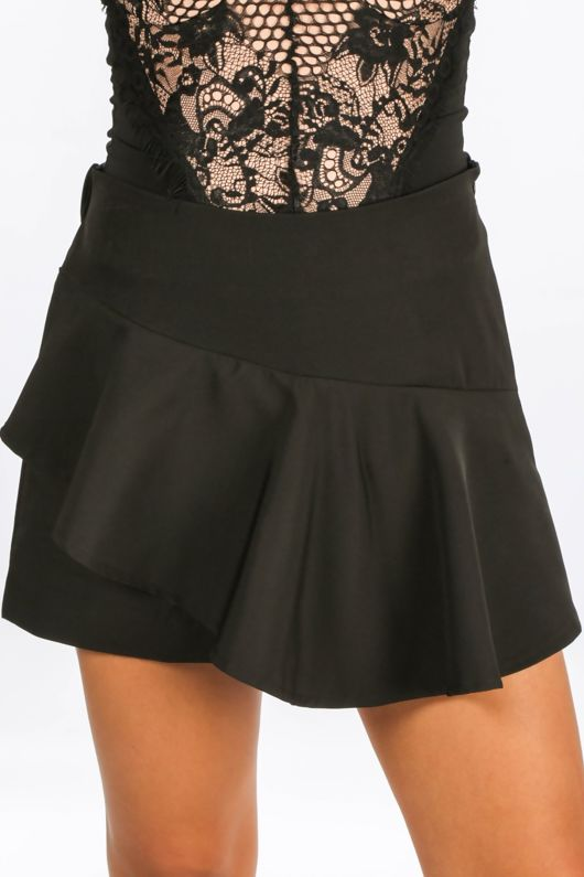 Frill Front Skort In Black