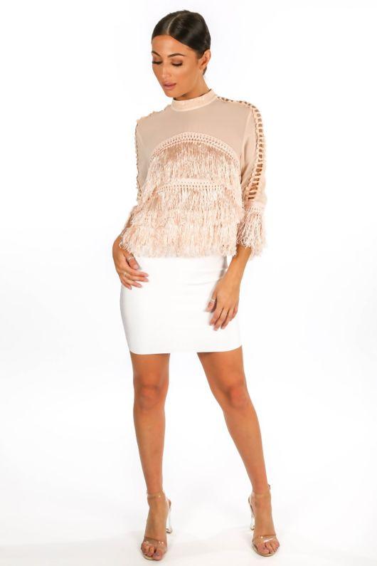 Sheer Mesh & Fringe Long Sleeve Top In Pink
