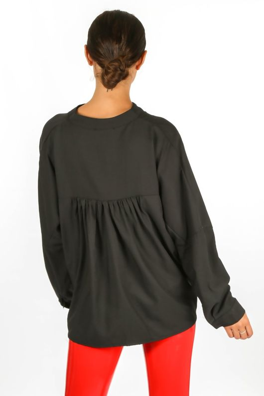 Gathered Pleat Blouse In Black