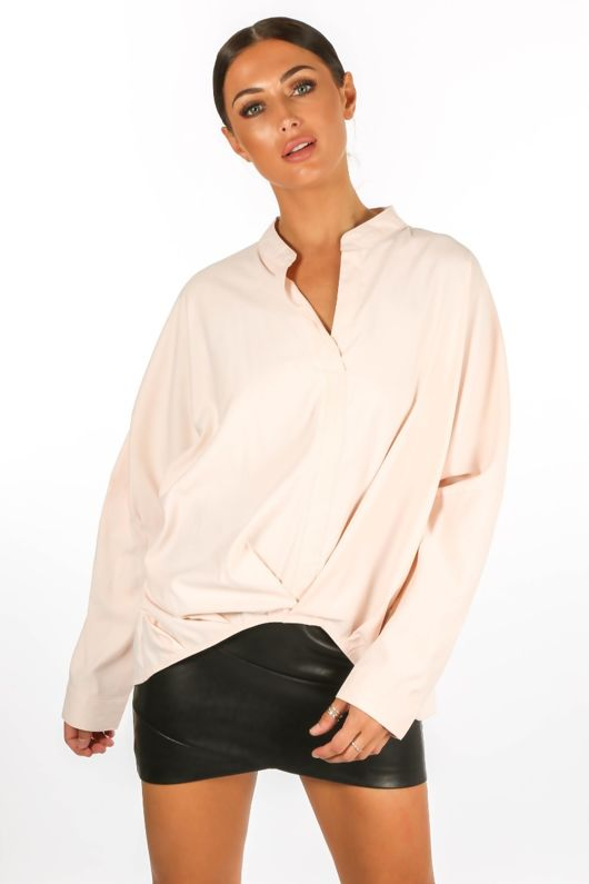 Gathered Pleat Blouse In Pink