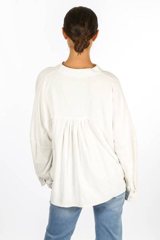 Gathered Pleat Blouse In White