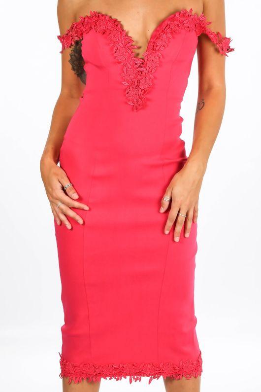 Sweetheart Bengaline Midi Dress In Fuchsia