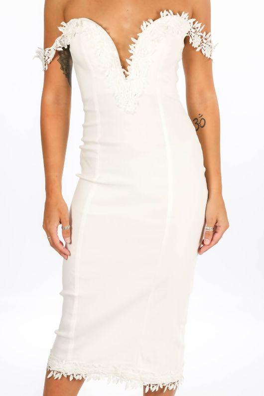 Sweetheart Bengaline Midi Dress In White