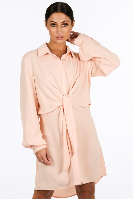 h/330/gcd2076-_Tie_Front_Chiffon_Shirt_Dress_In_Pink-2__50174.jpg