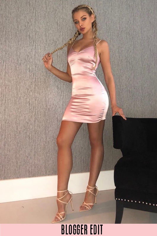 Pink Satin Mini Dress With Diamante Straps