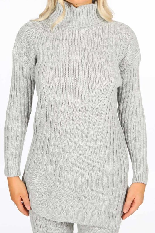 Grey Knitted Longline Jumper & Leggings Set