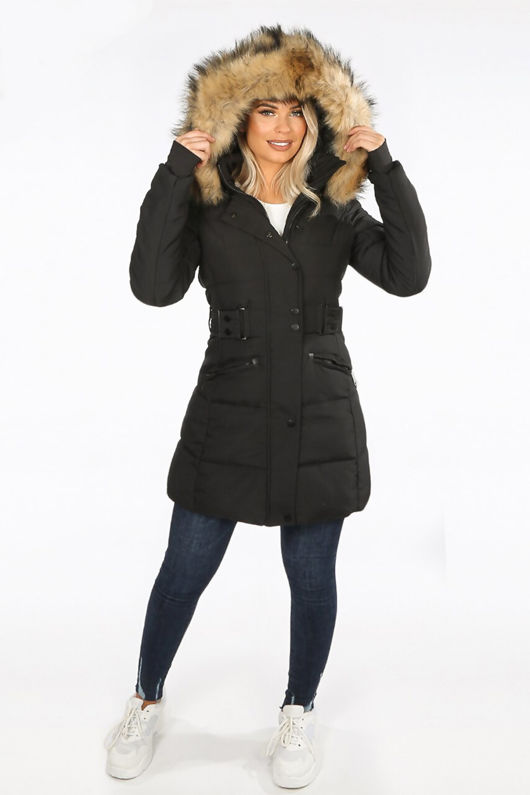 Black Long Puffer Coat With Natural Faux Fur