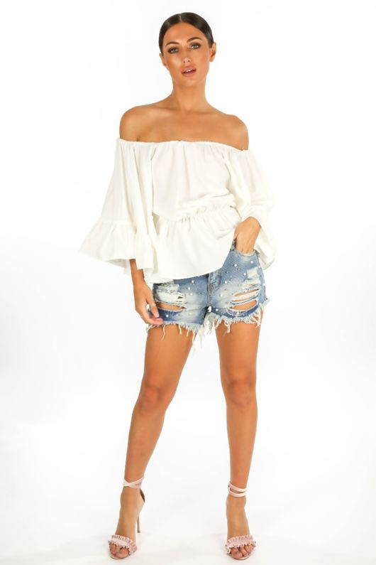 21e41949fb689e Off The Shoulder Frill Sleeve Top In White