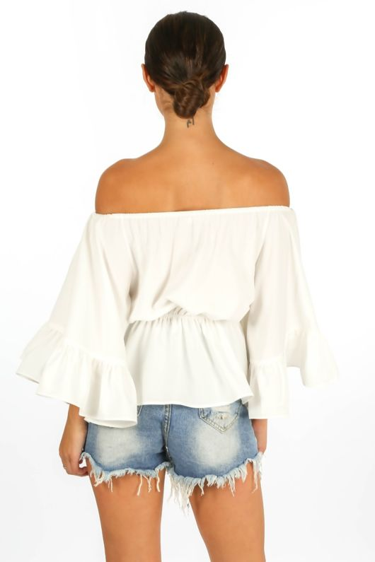 Off The Shoulder Frill Sleeve Top In White