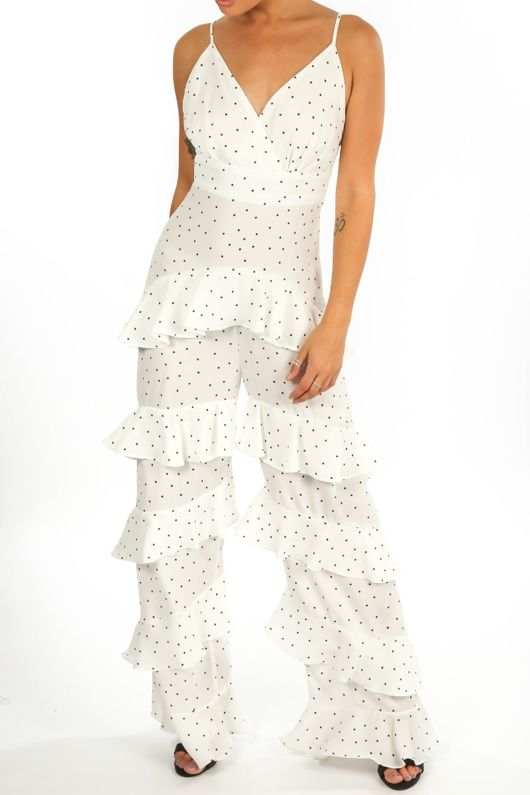 Polka Dot Chiffon Frill Jumpsuit In White