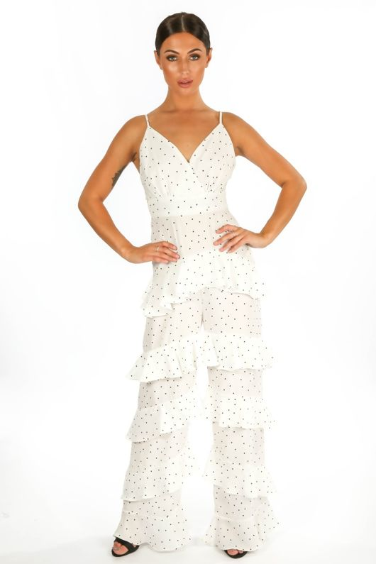 c7930363 Polka Dot Chiffon Frill Jumpsuit In White