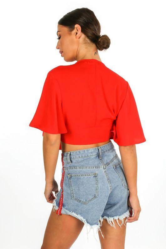 Tie Front Short Sleeve Crop Top In Red