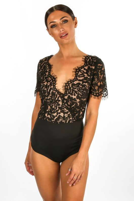 Black V Neck Contrast Lace Bodysuit