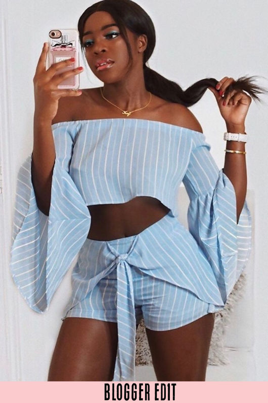 Striped Off The Shoulder Crop Top & Shorts Set Blue