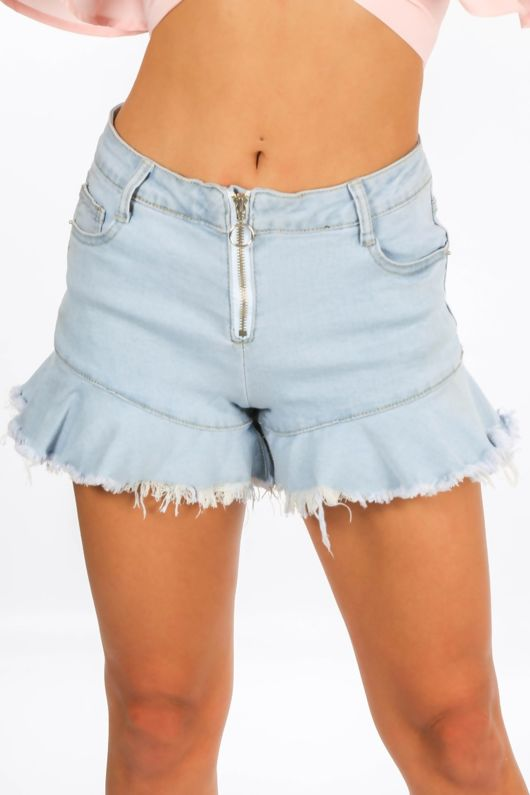Mini Denim Frill Hem Shorts