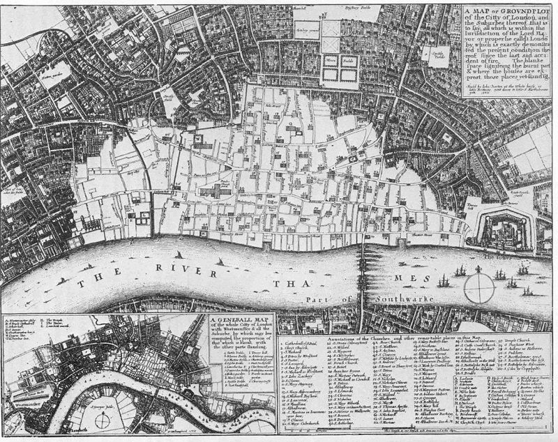 Map of the Great Fire of London