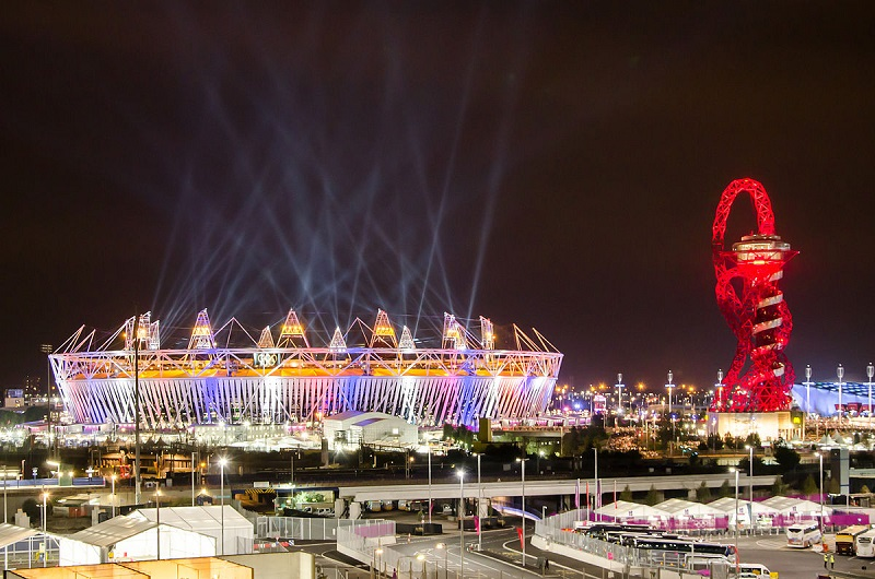 Olympic stadium and The Orbit during London Olympics opening ceremony