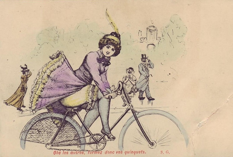 Postcard with a girl on a bicycle