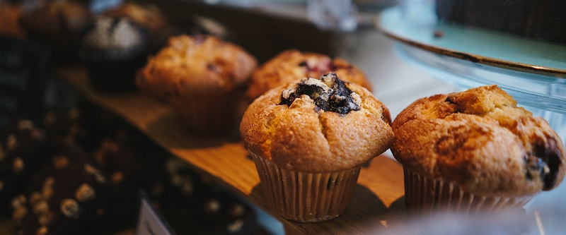Muffins in a cafe
