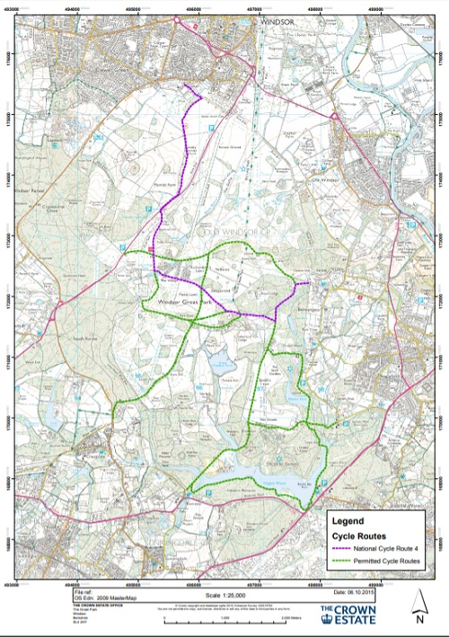 Cycle routes in Windsor Great Park