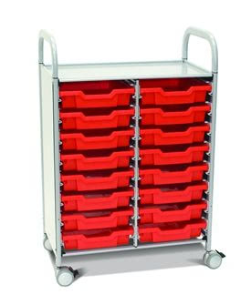 Callero Plus Double Trolley with Shallow Trays