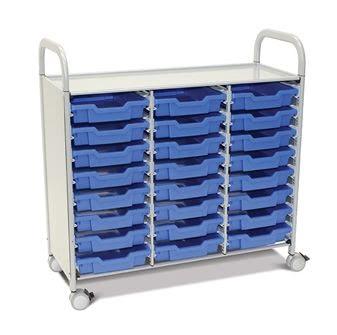 Callero Plus Treble Trolley with Shallow Trays