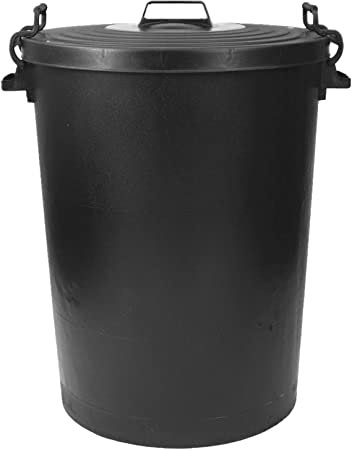 50 Litre PLastic Bin with Flat Lids - Black