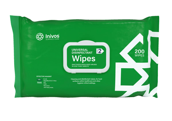 Universal Disinfectant Wipes, Pack of 200