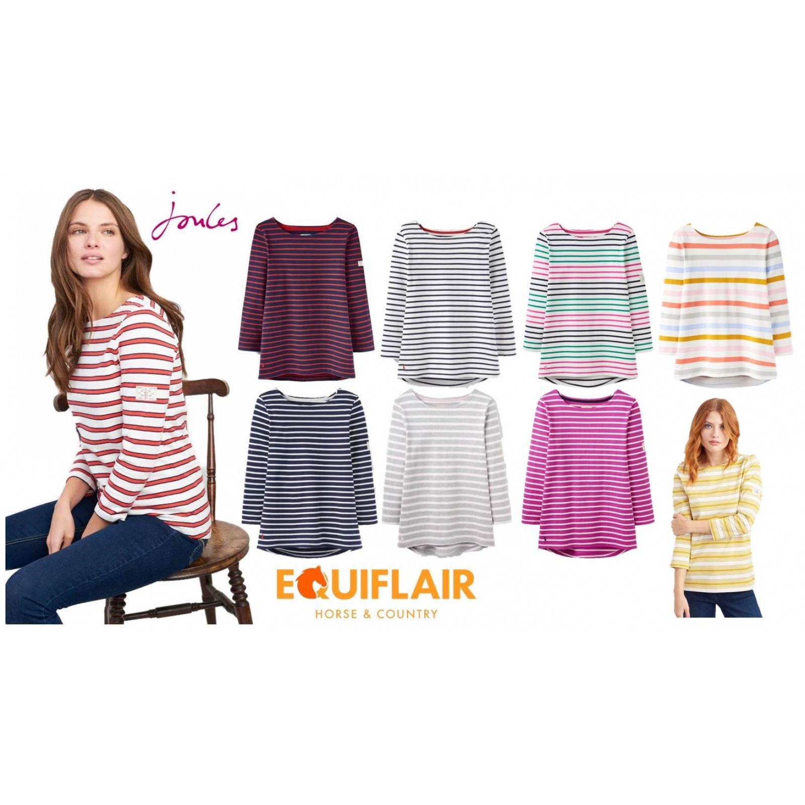 Joules-Harbour-Jersey-3-4-Sleeve-Top-SS19 thumbnail 9