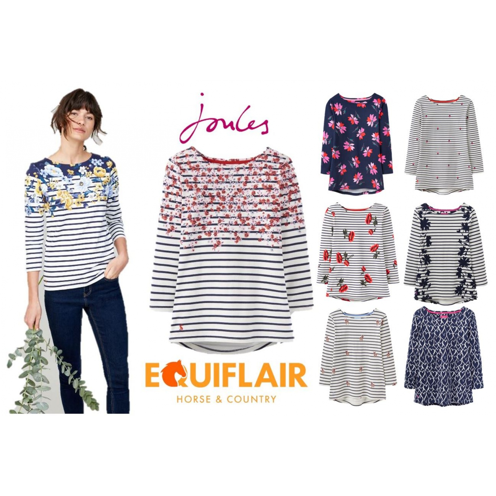 Joules-Harbour-Printed-3-4-Sleeve-Jersey-Top-SS19 thumbnail 9