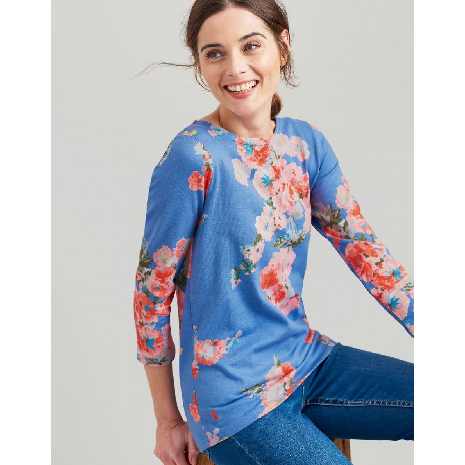 Joules-Harbour-Printed-3-4-Sleeve-Jersey-Top-SS19 thumbnail 6