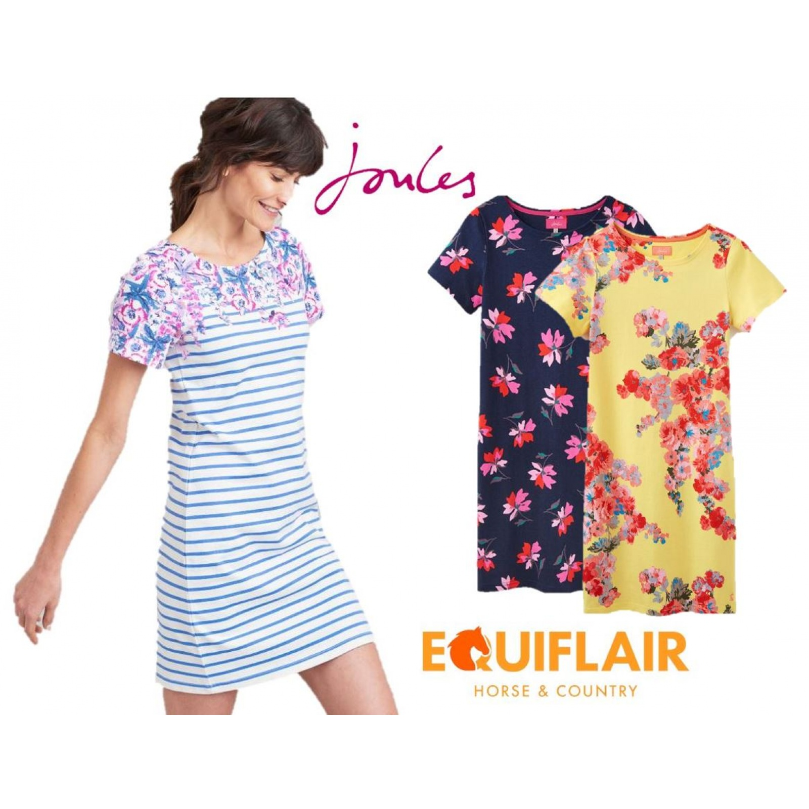 Joules-Riviera-Print-T-Shirt-Dress-with-Short-Sleeves-SS19 thumbnail 9