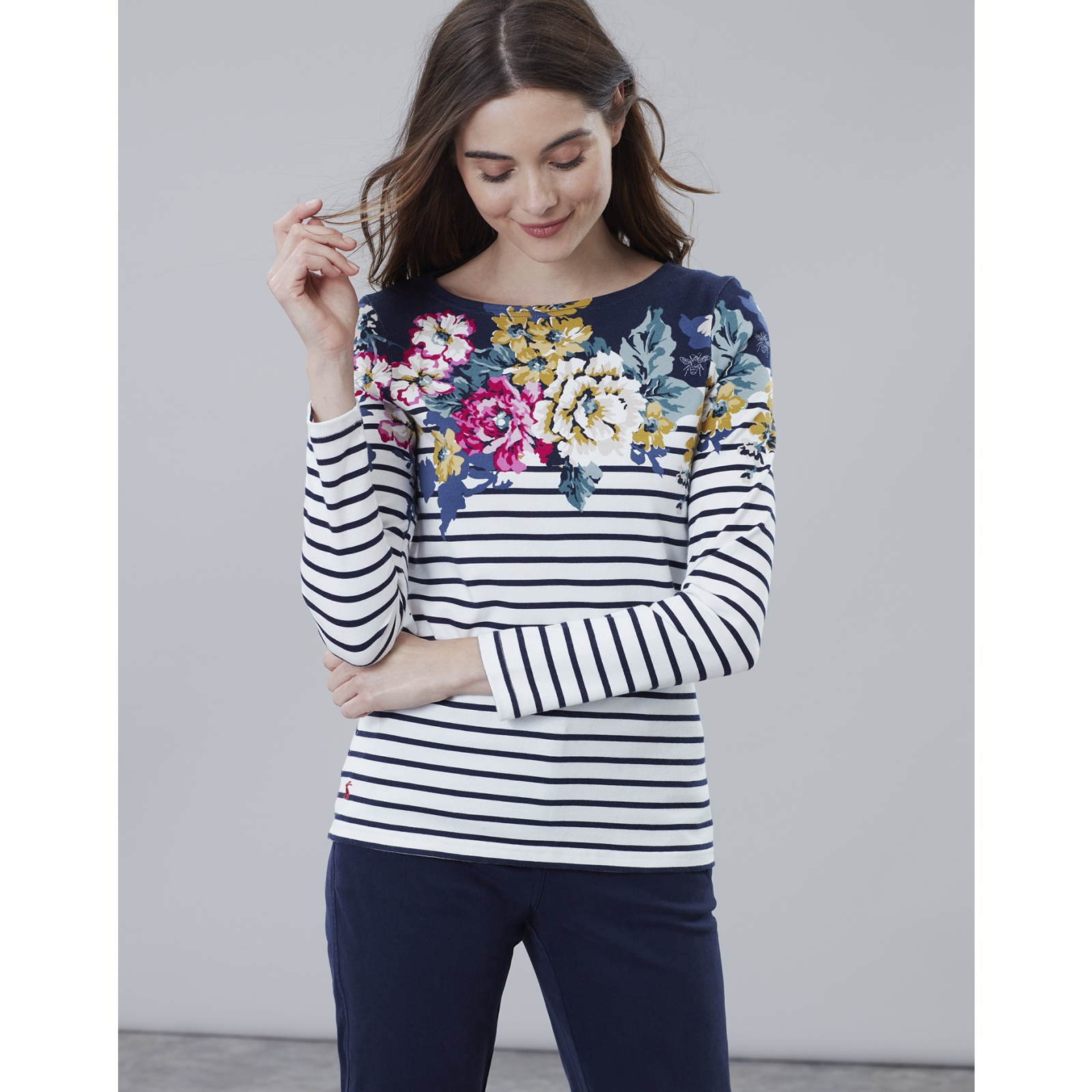 Joules-Harbour-Print-Long-Sleeve-Jersey-Top-ALL-COLOURS miniature 8