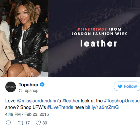 Topshop fashion row on twitter